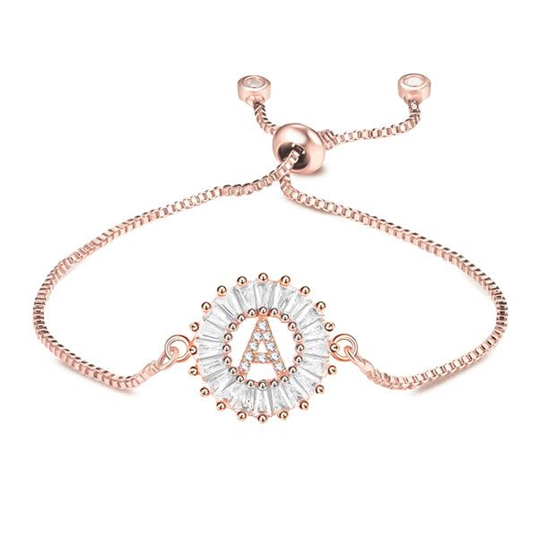 Rose gold initial letter bracelet with sparkling crystals and adjustable bolo closure