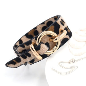 Leopard print leather bracelet with soft fur texture and gold fashion clasp