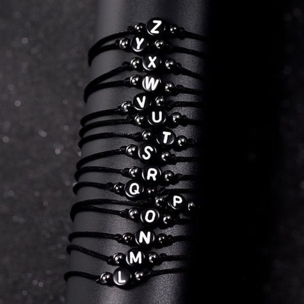 Black macrame bracelets with initial letter beads for friends and couples