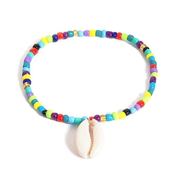 Multicolor beaded seashell anklet
