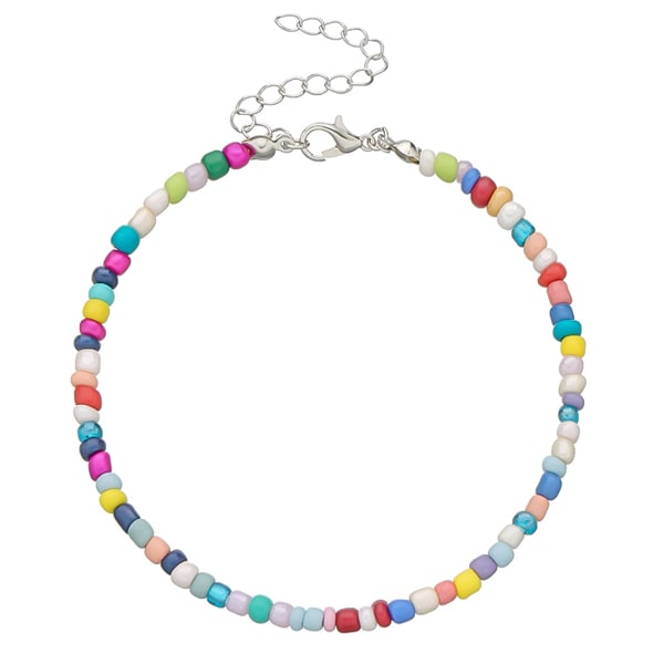 Multicolor handmade beaded anklet