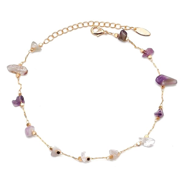 Natural amethyst stone anklet