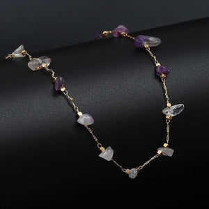 Natural amethyst bead anklet