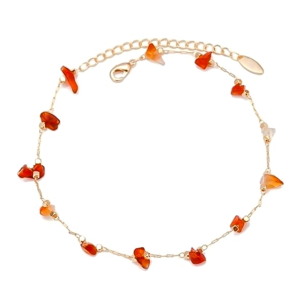 Natural red agate stone anklet