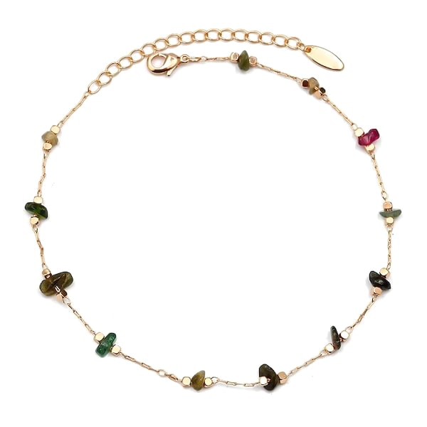 Natural tourmaline stone anklet