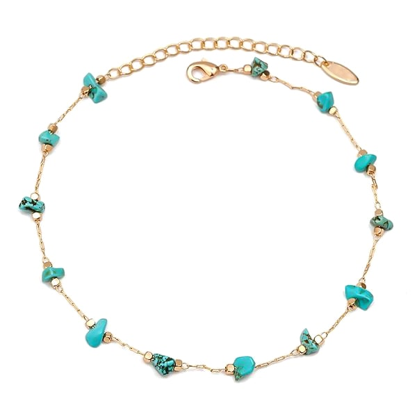 Natural turquoise stone anklet