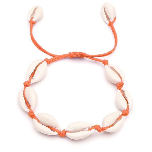 Orange cowrie shell anklet