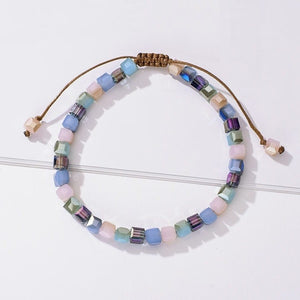 Handmade bracelet with pastel lilac square crystal beads