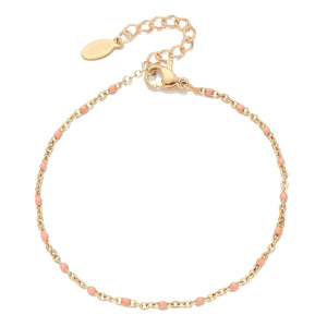 Pink beaded gold chain bracelet