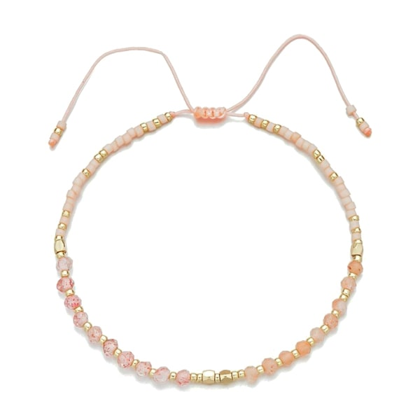 Pink and gold small beaded bracelet