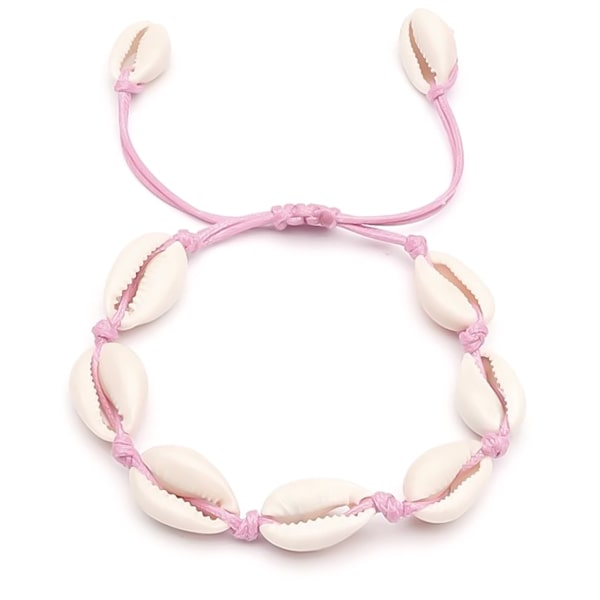 Pink cowrie shell anklet