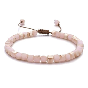 Powder Pink Beaded Crystal Bracelet