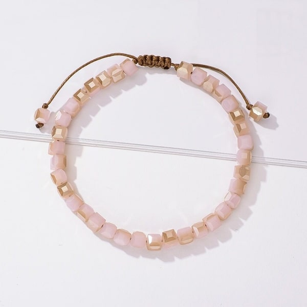 Handmade bracelet with powder pink square crystal beads
