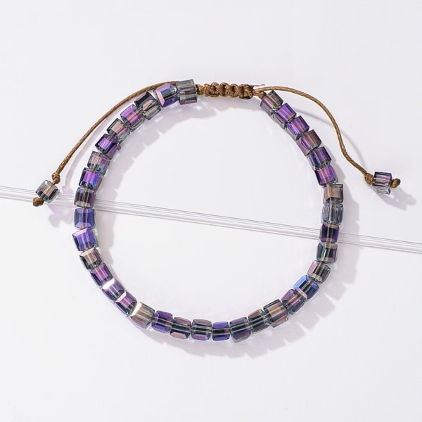 Handmade bracelet with purple magic square crystal beads