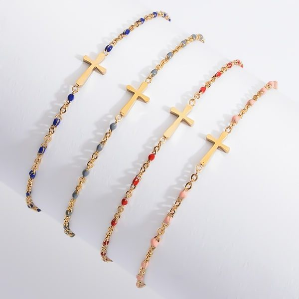 Waterproof gold and red cross bracelet