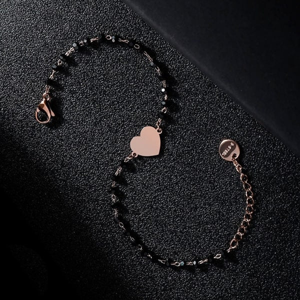 Waterproof rose gold heart bracelet made of stainless steel and black beads