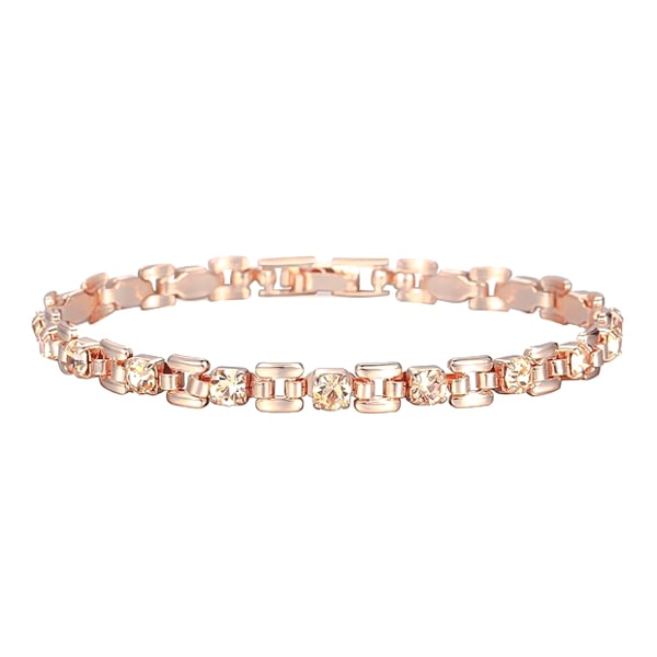Rose gold bracelet with champagne crystal stones