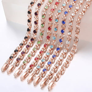 Rose gold and clear crystal bracelet