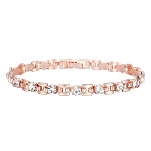 Rose gold bracelet with clear crystal stones