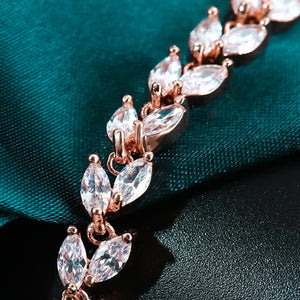 Rose gold bracelet with marquise crystal leaves