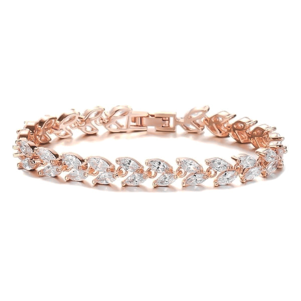 Rose gold crystal leaf bracelet