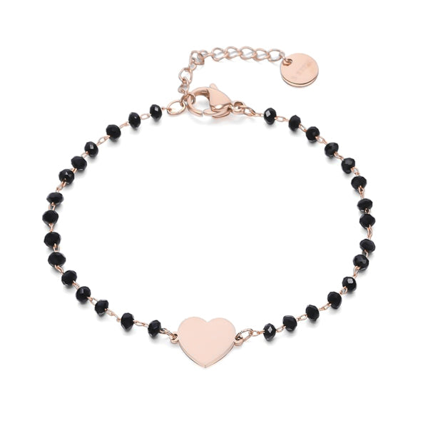 Rose gold heart bracelet with black beads