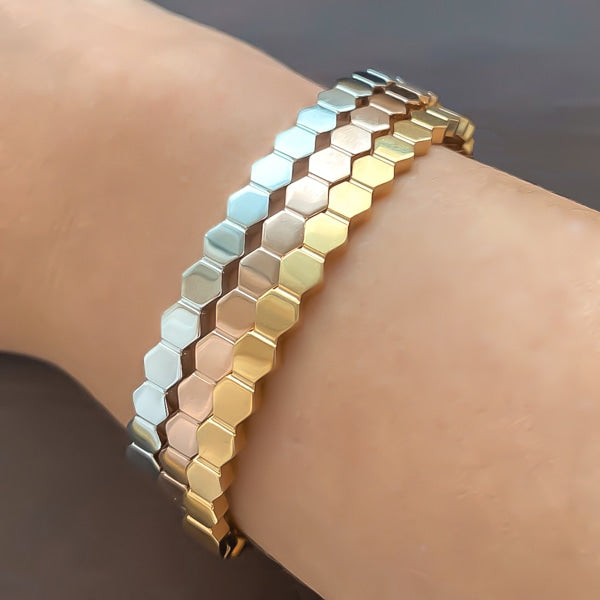 Stacked hexagon bangle cuff bracelets in rose gold, gold, and silver color