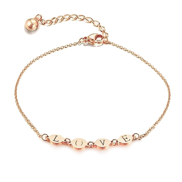 Rose gold love anklet