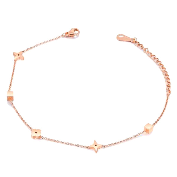 Rose gold lucky charm anklet