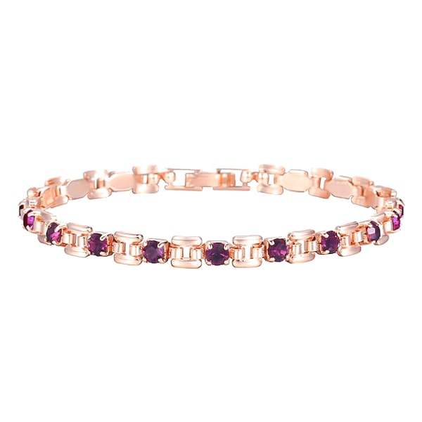 Rose gold bracelet with purple crystal stones