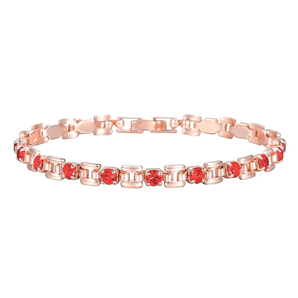 Rose gold bracelet with red crystal stones