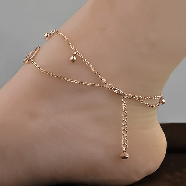 Rose gold rose flower anklet with adjustable length