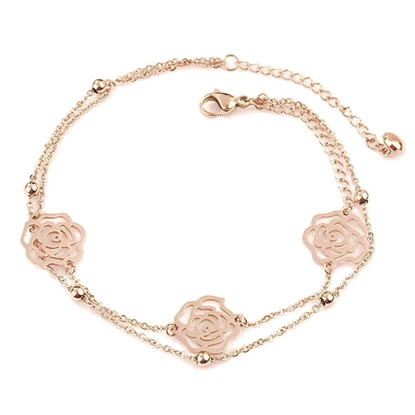 Rose gold rose flower anklet