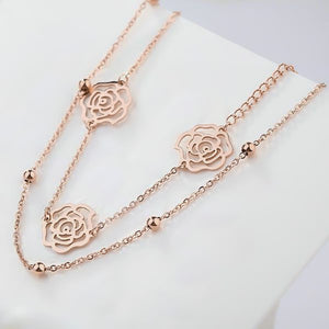 Two-layer rose gold rose flower ankle bracelet
