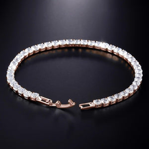 Rose gold tennis bracelet with clear cubic zirconia