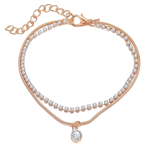 Rose gold two-layer crystal ankle bracelet
