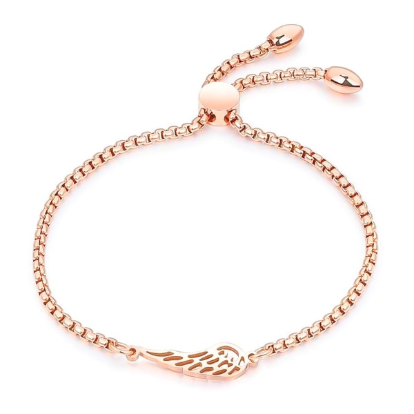 Rose gold angel wing bracelet