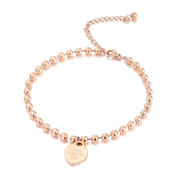 Rose gold beaded heart charm anklet