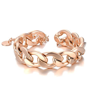 Rose gold chunky Cuban link chain bracelet