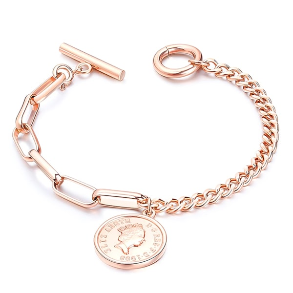 Rose gold coin and dual chain bracelet