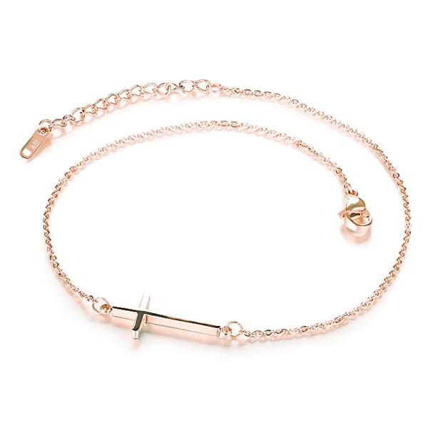 Rose gold cross anklet