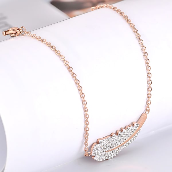 Rose gold crystal feather bracelet close up details