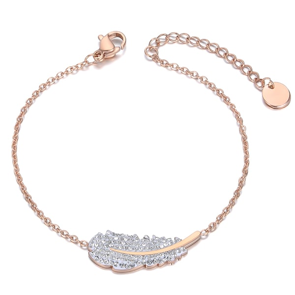Rose gold crystal feather bracelet