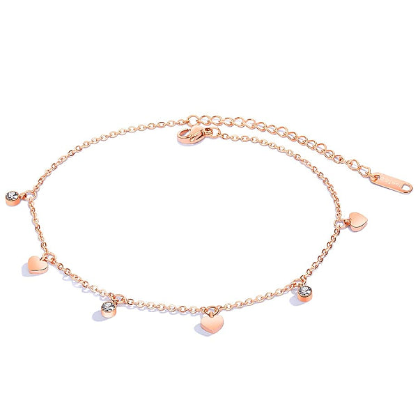 Rose gold love charm anklet with heart and crystal pendants