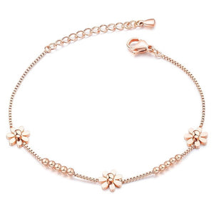 Rose gold daisy flower bracelet