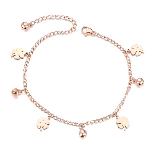 Rose gold four-leaf clover anklet