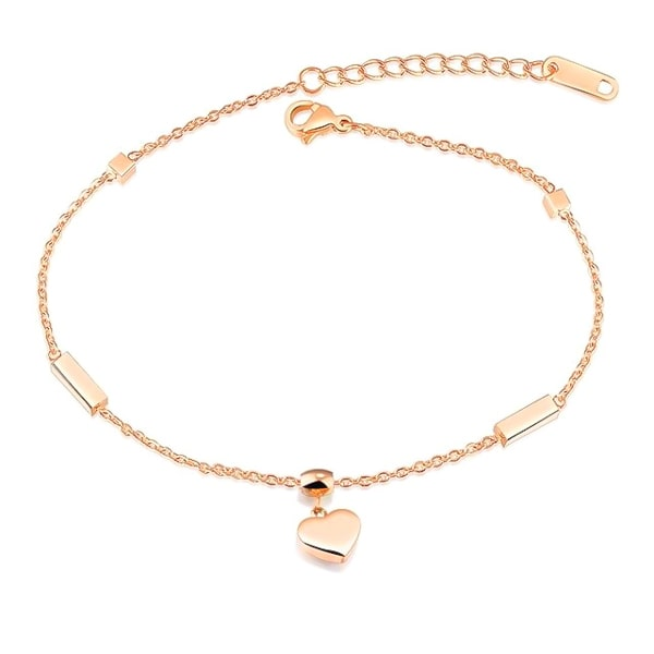Rose gold heart anklet