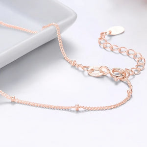 Rose gold vermeil beaded chain ankle bracelet close up details