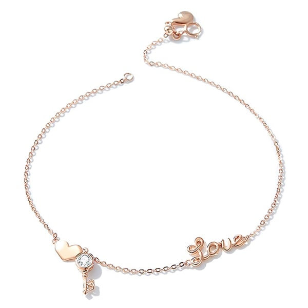 Rose gold vermeil love anklet with a heart and a key pendant
