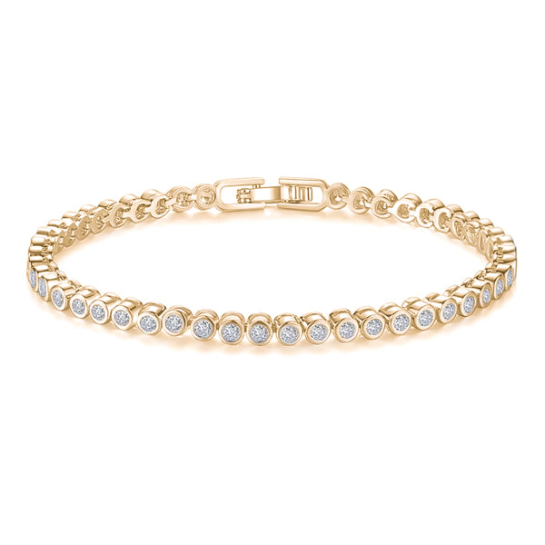 Gold-plated round tennis bracelet